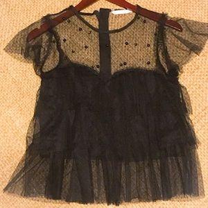Zara tulle black top with beading